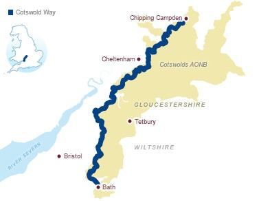 cotswold way route map. enjoy a tour with chipping campden taxis
