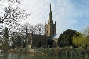 in stratford old town by the river avon is holy trinity church - one of the most beautiful parish churches in england - where you can visit shakespeares grave.